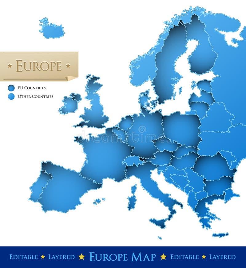 欧洲映射向量 向量例证