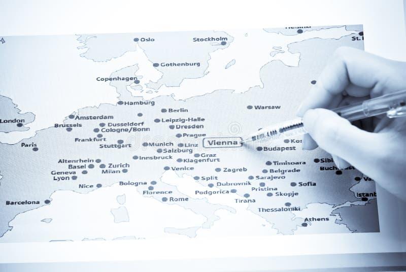 欧洲映射维也纳 免版税图库摄影