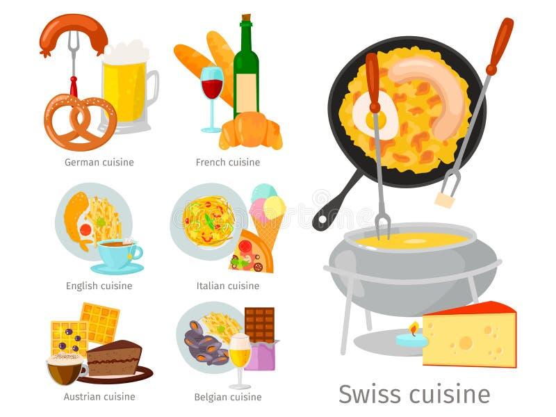 欧洲显示可口豪华意大利罗马土气快餐板材的传染媒介食物烹调鲜美晚餐食物平的例证 皇族释放例证