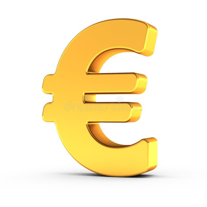 欧洲标志作为与裁减路线的一个优美的金黄对象 免版税库存图片