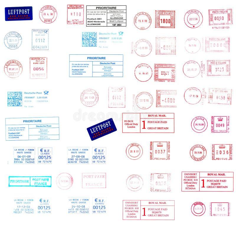 欧洲标记过帐邮戳 向量例证