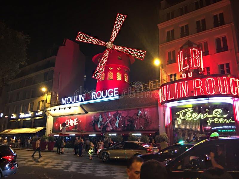 欧洲法国巴黎美丽的景色红磨坊 图库摄影