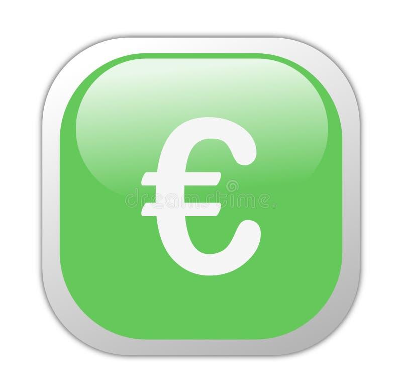 欧洲玻璃状绿色图标正方形 皇族释放例证