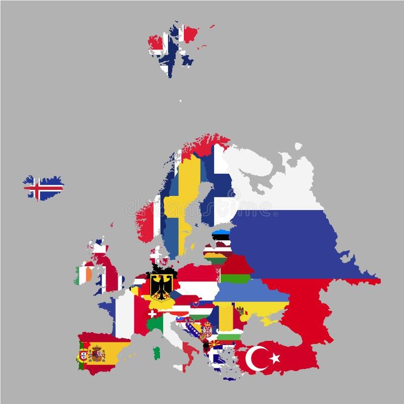 欧洲疆土有国旗的在灰色背景 向量例证
