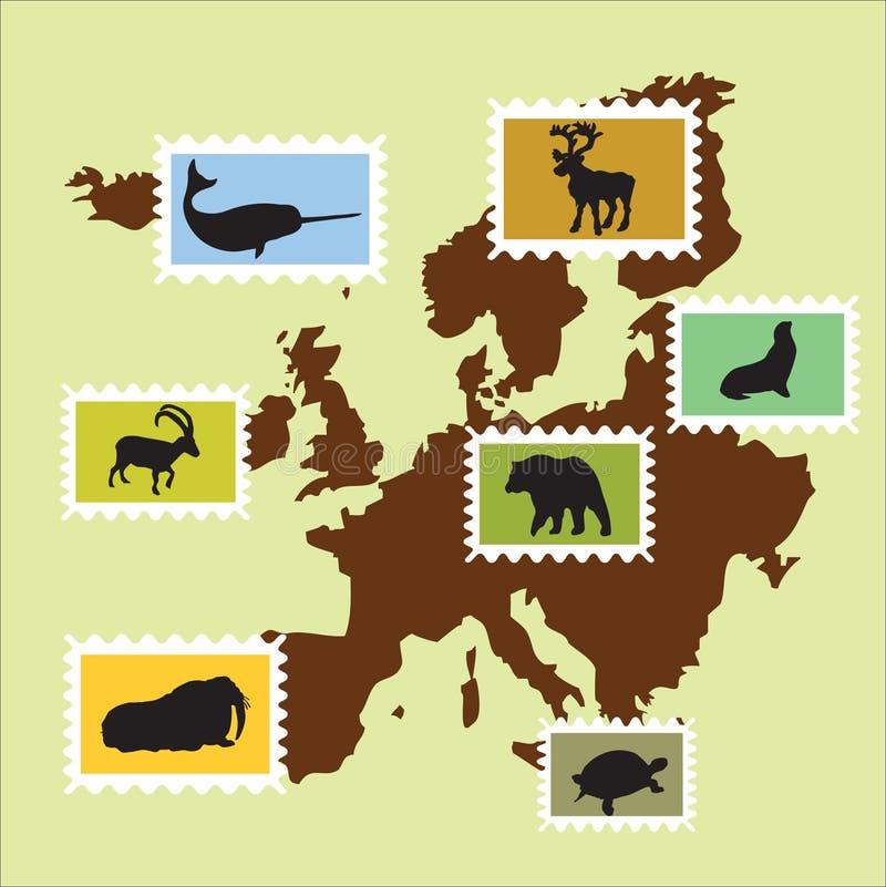 欧洲的动物 向量例证