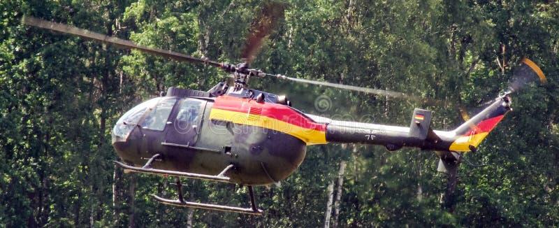 欧洲直升机公司MBB德语空军队Bo105在Goraszka显示在波兰 图库摄影