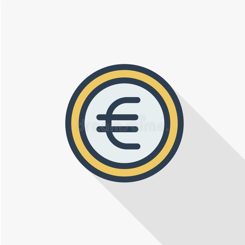 欧洲硬币,货币稀薄的线平的颜色象 线性传染媒介标志 五颜六色的长的阴影设计 向量例证