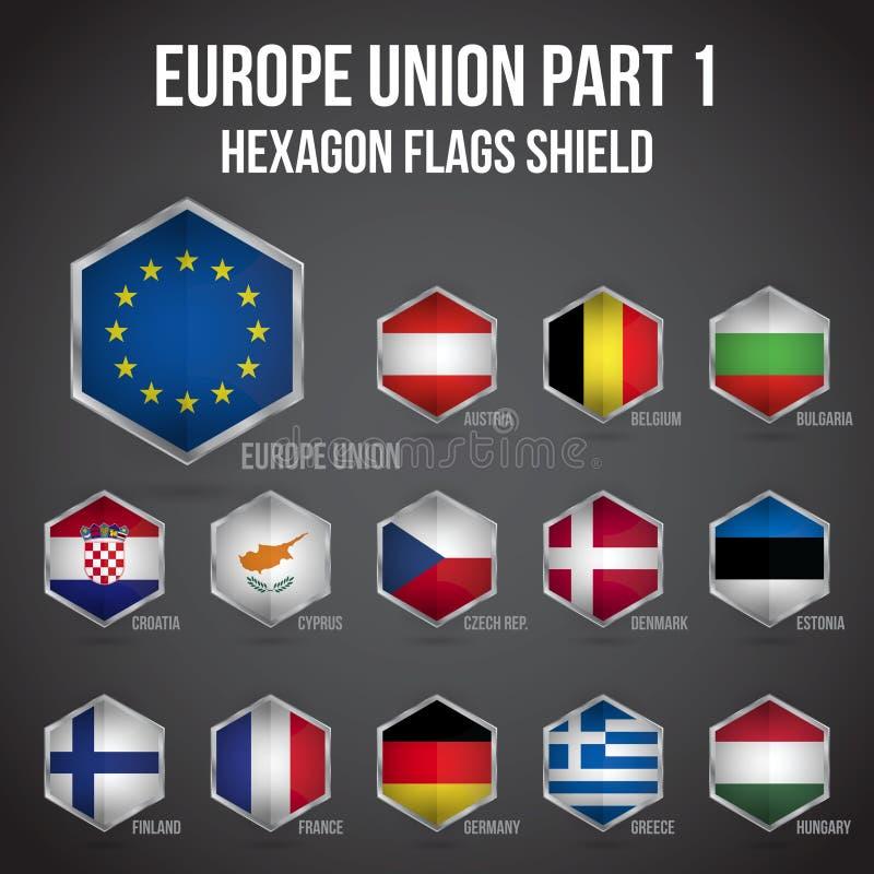 欧洲联合六角形下垂盾第1部分 向量例证