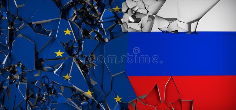 欧洲联合对俄罗斯概念旗子 库存例证