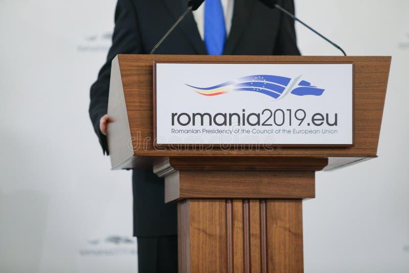 欧洲联盟部长理事会的罗马尼亚总统的职务的商标 库存图片