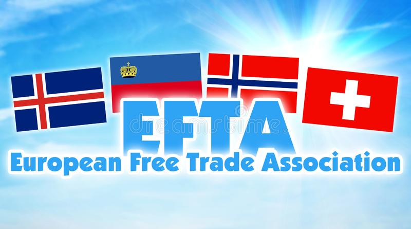 欧洲自由贸易联盟,欧洲自由贸易联盟 在欧洲之间某些国家的联盟  图库摄影