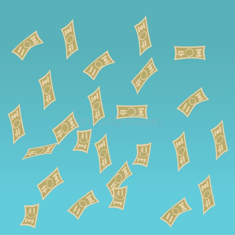 欧洲落的货币雨天空 与落的美元的无缝的样式 也corel凹道例证向量 向量例证