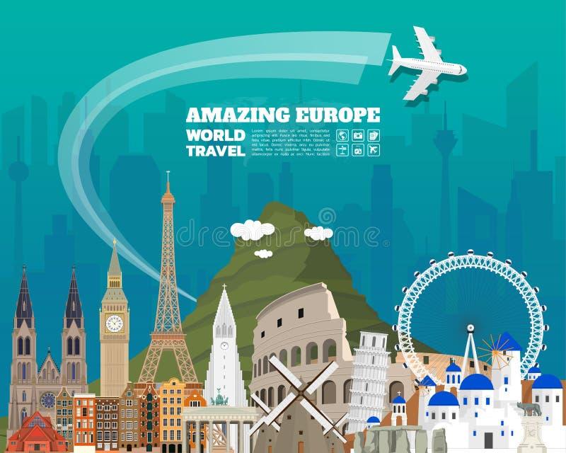欧洲著名地标纸艺术 全球性旅行和旅途信息 库存例证