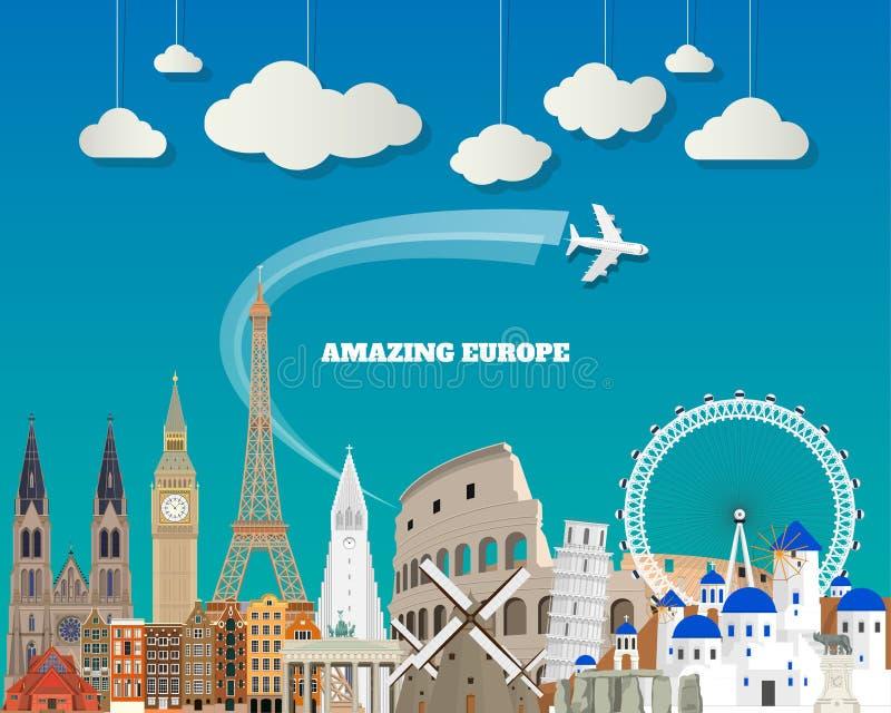 欧洲著名地标纸艺术 全球性旅行和旅途信息 皇族释放例证