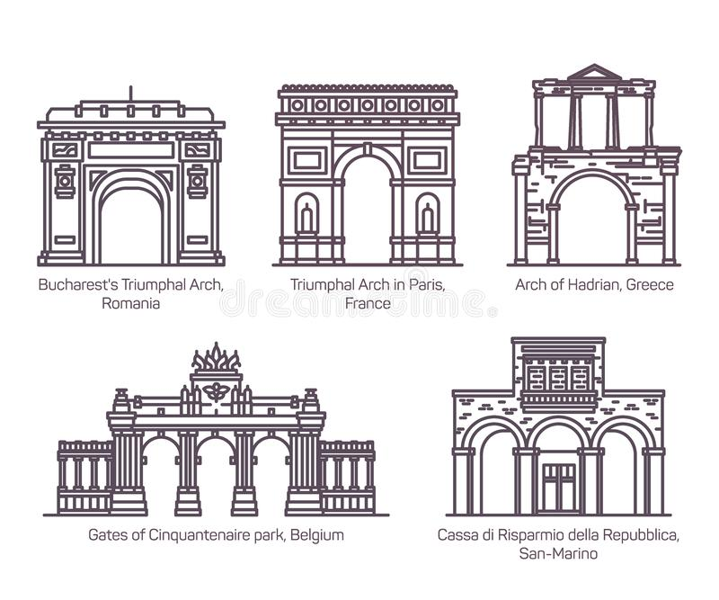欧洲著名曲拱或观光的弧 稀薄的线 皇族释放例证
