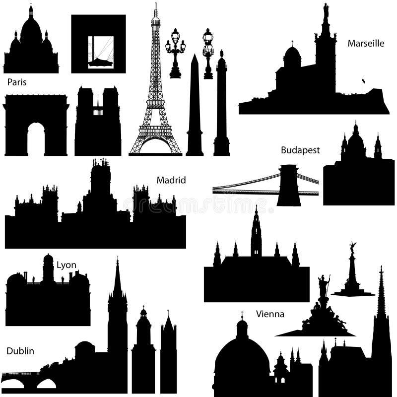 欧洲著名纪念碑剪影向量 皇族释放例证