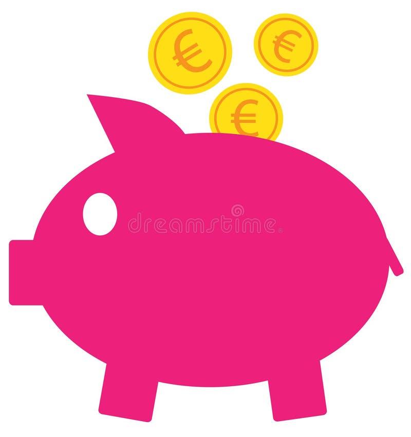 欧洲货币象或商标在进入存钱罐的硬币 库存例证