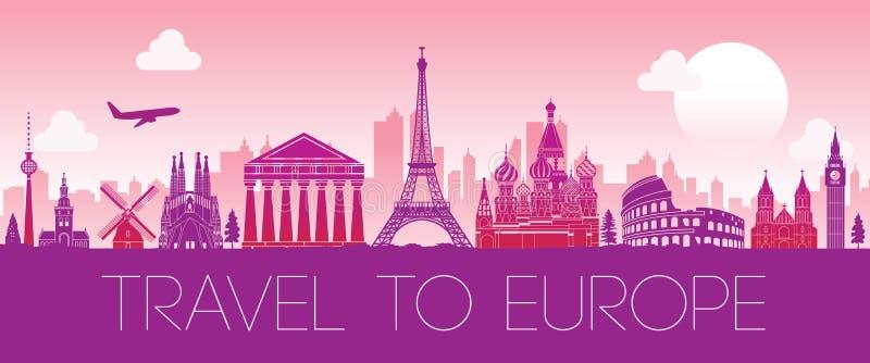 欧洲,剪影设计桃红色颜色顶面著名地标  皇族释放例证