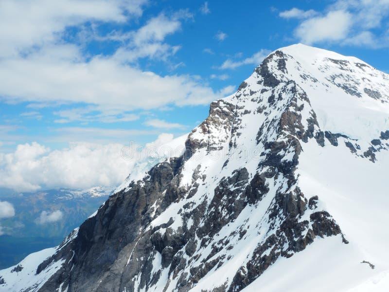 欧洲,瑞士少女峰上面从全景的观点360度,瑞士的普遍的旅游景点 图库摄影