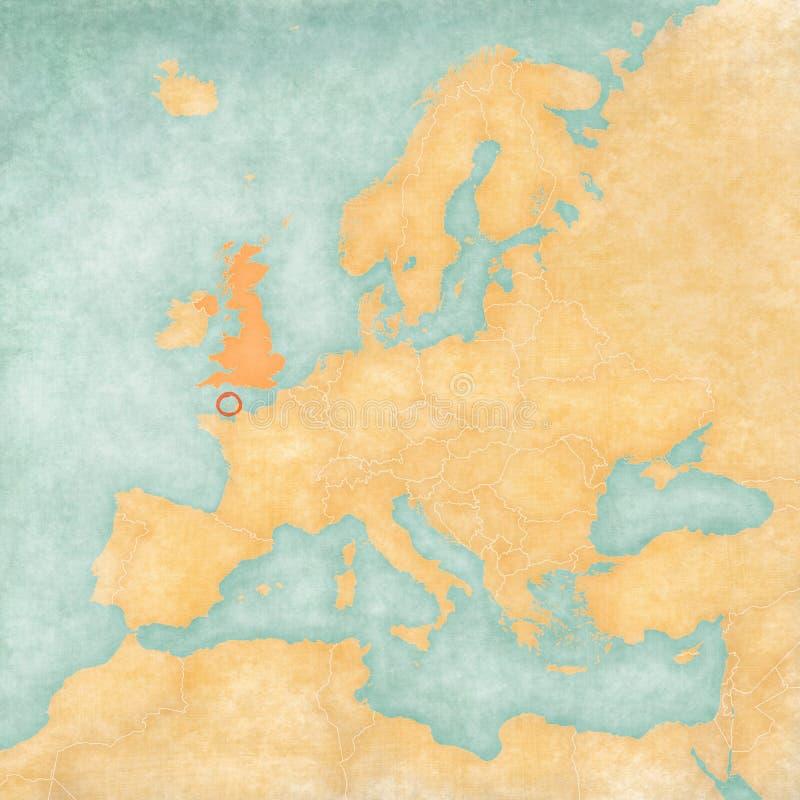 欧洲-根西岛地图与英国的 皇族释放例证