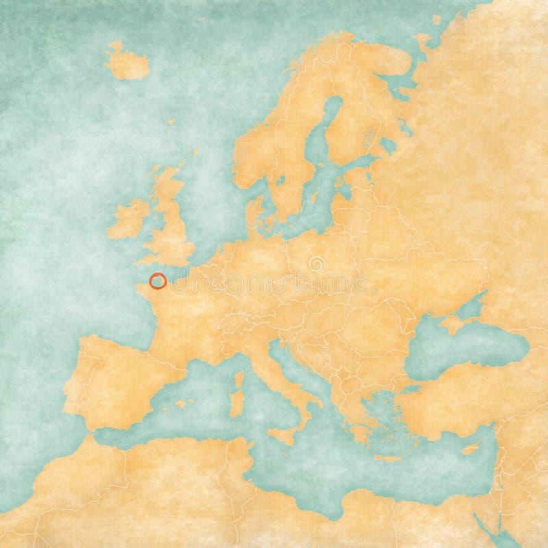 欧洲-泽西的地图 皇族释放例证