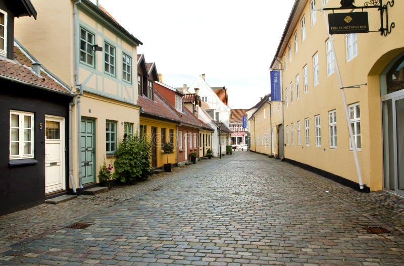 欧登塞,丹麦老镇  库存照片