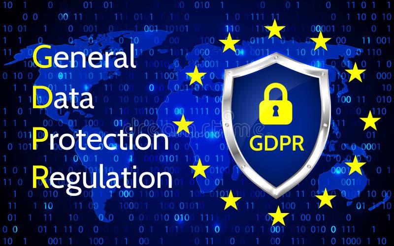 欧盟一般数据保护章程 EU gdpr传染媒介例证 向量例证