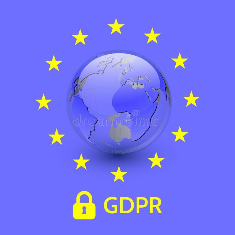 欧盟一般数据保护章程 EU gdpr传染媒介例证 皇族释放例证