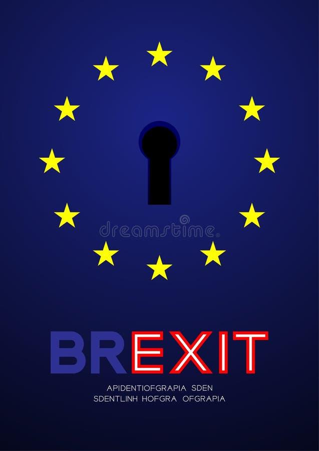 欧盟与匙孔,Brexit在与拷贝空间,传染媒介eps的蓝色背景隔绝的构思设计例证的欧盟旗子 皇族释放例证