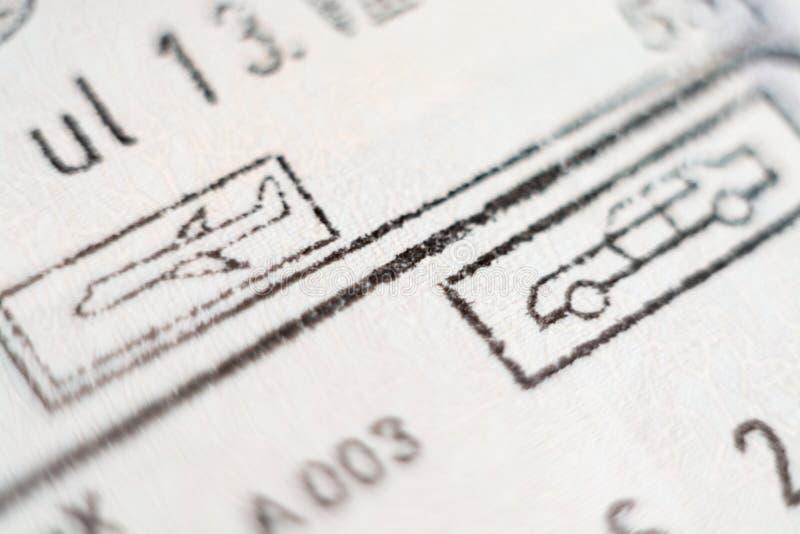 欧盟入场邮票特写镜头宏观细节  库存图片