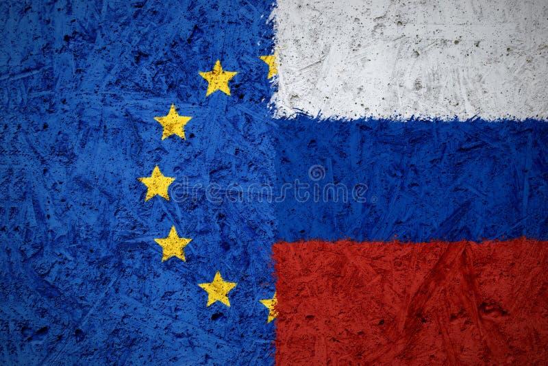 欧盟和俄国旗子 免版税库存图片