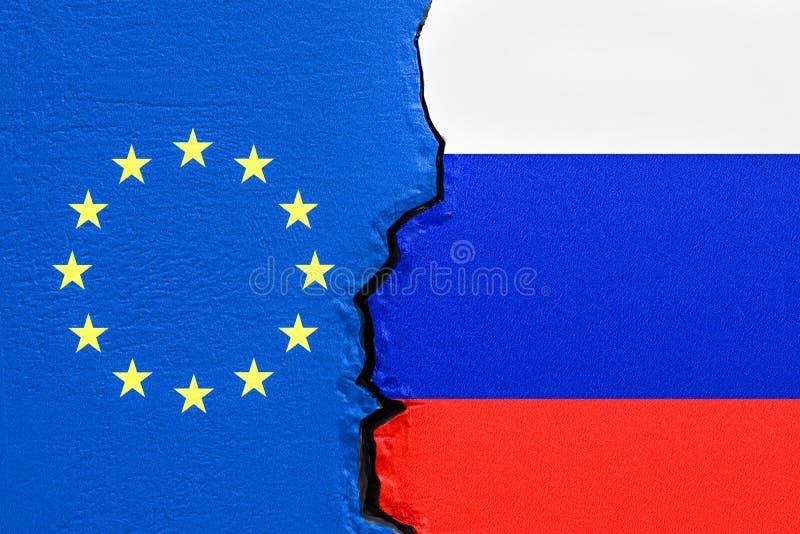 欧盟和俄罗斯,政治冲突概念 3d翻译 库存例证