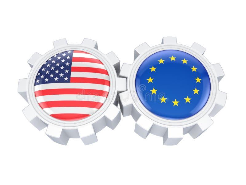 欧盟和在的美国国旗齿轮。 向量例证
