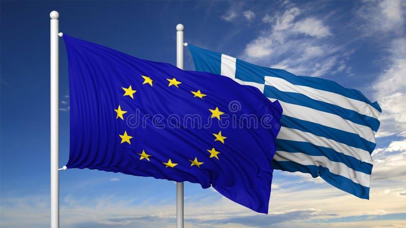 欧盟和希腊的挥动的旗子旗杆的 库存例证