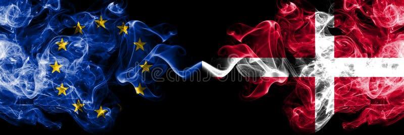 欧盟对丹麦,肩并肩被安置的丹麦烟旗子 欧盟和丹麦的厚实的色的柔滑的烟旗子,丹麦语 向量例证