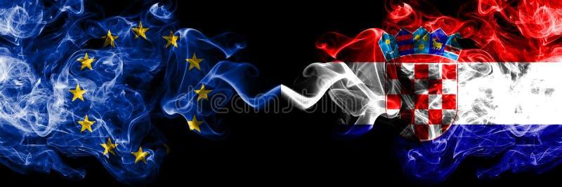 欧盟对克罗地亚,肩并肩被安置的克罗地亚烟旗子 欧盟和克罗地亚,克罗地亚人的厚实的色的柔 皇族释放例证