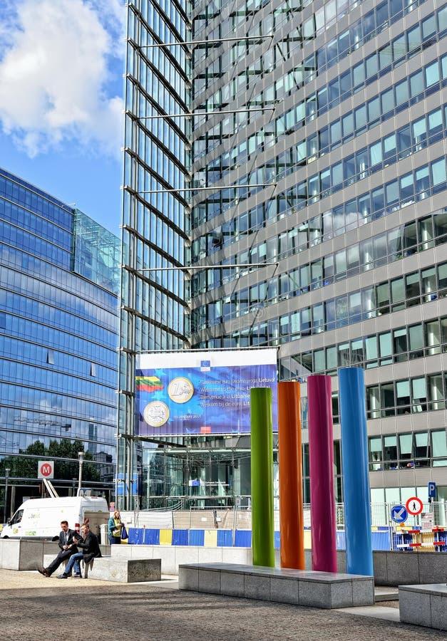 欧盟执委会现代办公室在布鲁塞尔 免版税库存照片