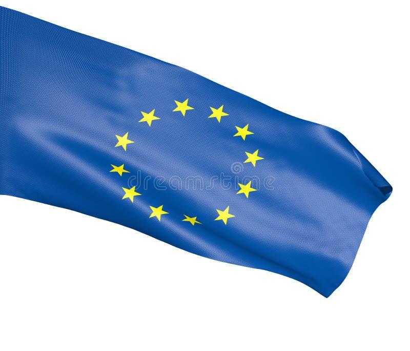 欧盟旗子在白色背景的 向量例证