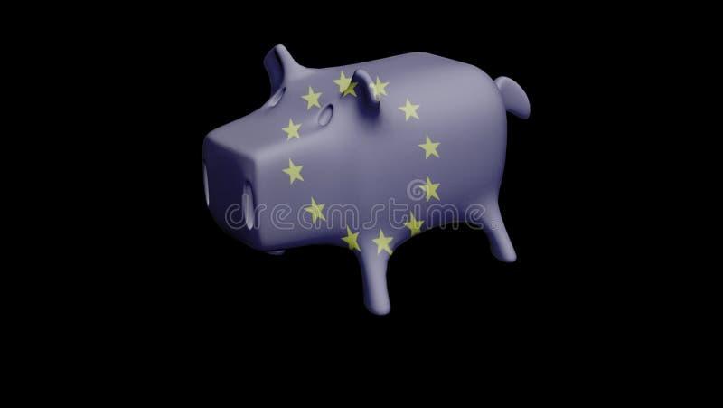 欧盟旗子存钱罐3D例证 库存例证