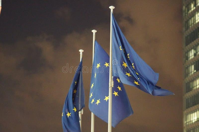 欧盟旗子振翼 免版税库存照片