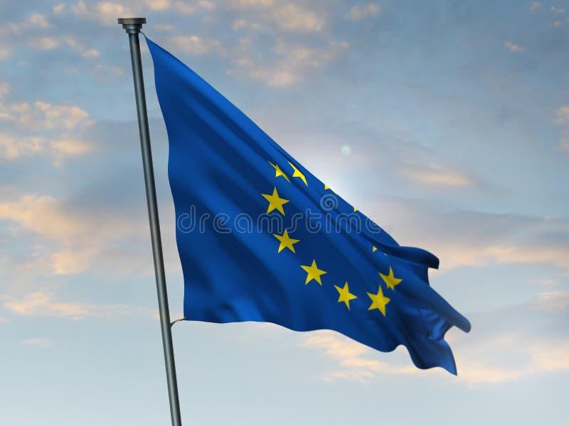 欧盟旗子,欧盟颜色,欧洲 3d?? 皇族释放例证
