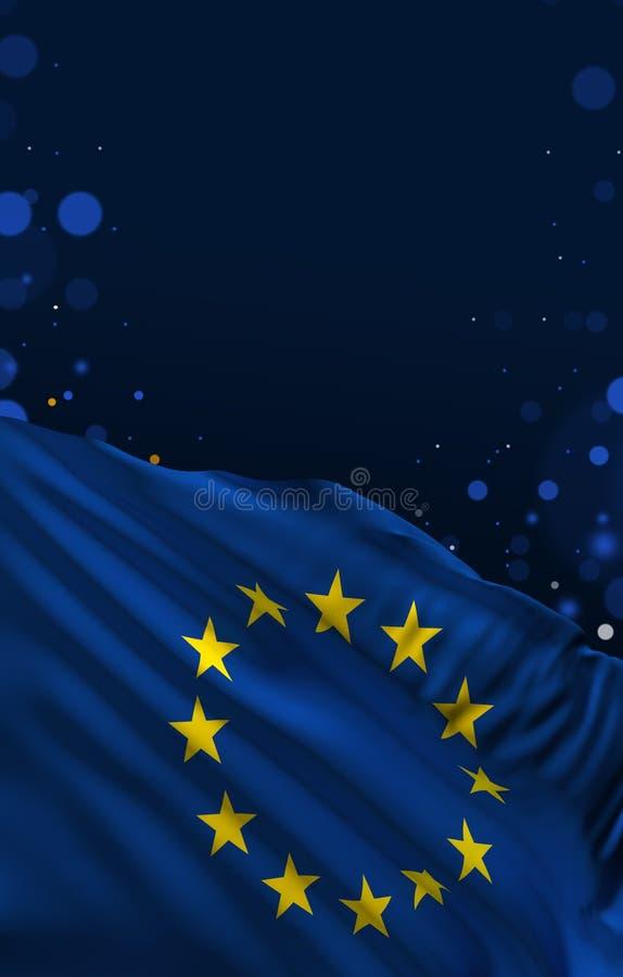 欧盟旗子,欧盟颜色,欧洲 3d?? 库存例证