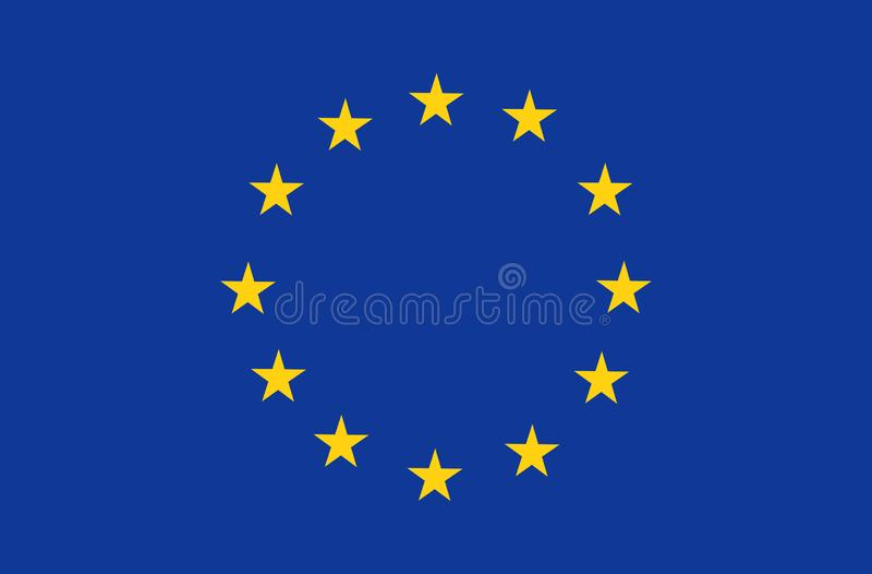 欧盟旗子,正式颜色和恰当地成比例 爱国欧盟标志,横幅,元素,设计,背景 库存例证
