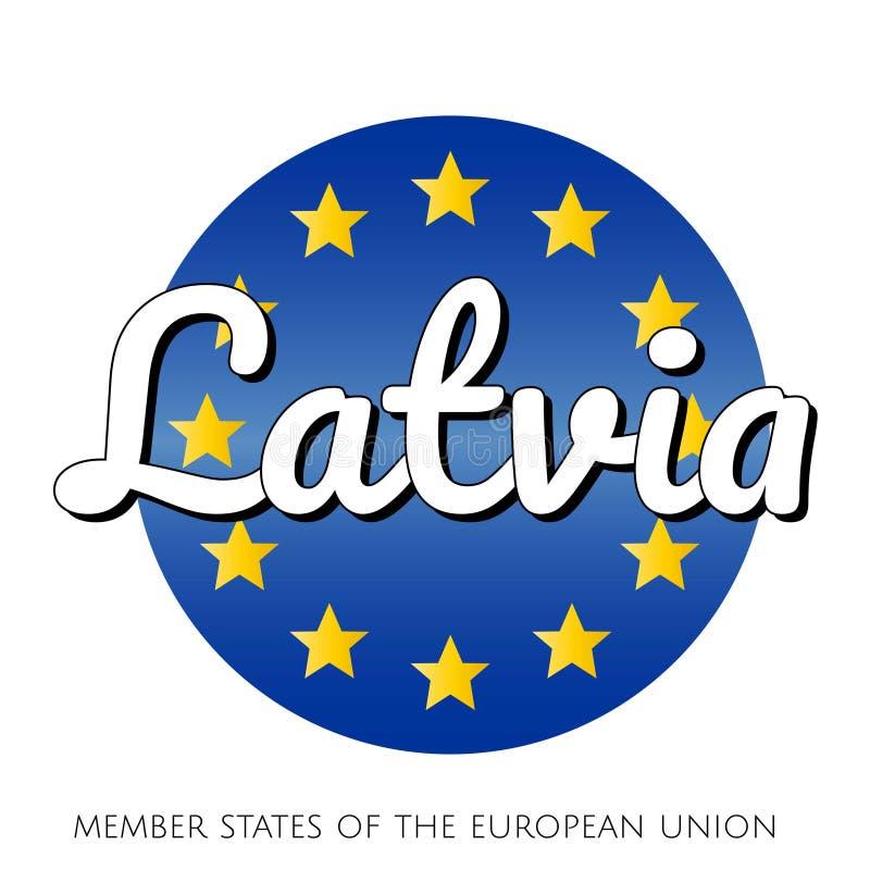 欧盟的国旗圆的按钮象有蓝色梯度背景和黄色和金星和 皇族释放例证