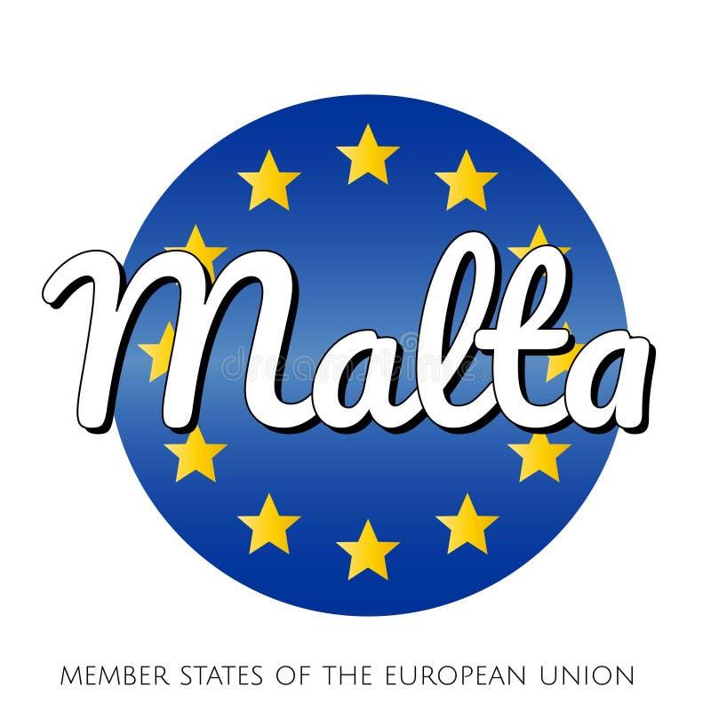 欧盟的国旗圆的按钮象有蓝色梯度背景和黄色和金星和 库存例证
