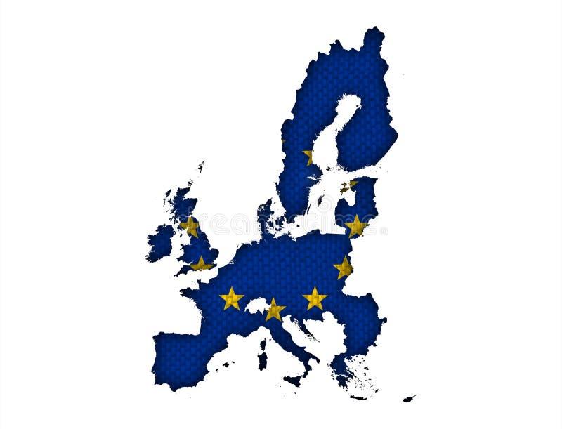 欧盟的地图和旗子在老亚麻布的 库存图片
