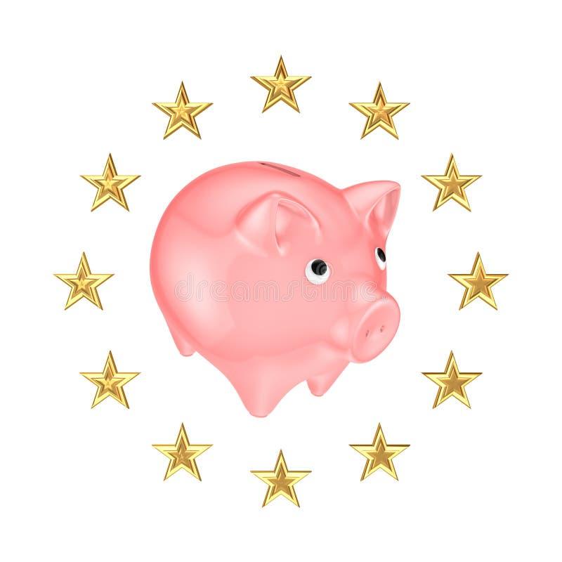 欧盟符号和存钱罐。 向量例证