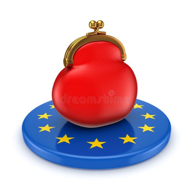 欧盟符号和红色钱包。 皇族释放例证