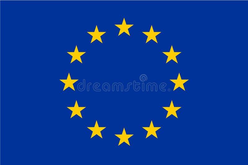 欧盟,欧盟旗子  在蓝色背景的十二个金星 正式大小和颜色 库存例证