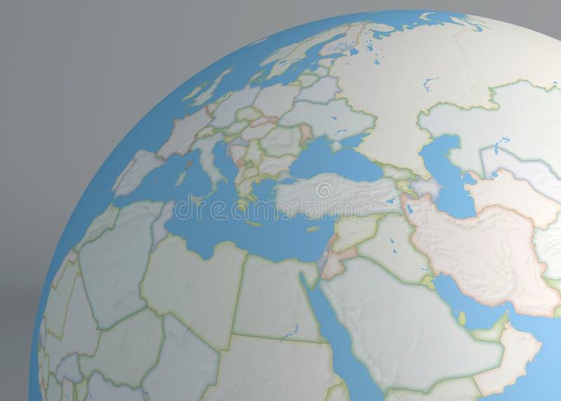 欧洲、中东和北非的政治地图地球 库存例证